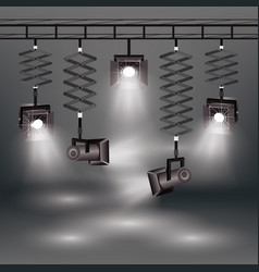 realistic spotlights set vector image