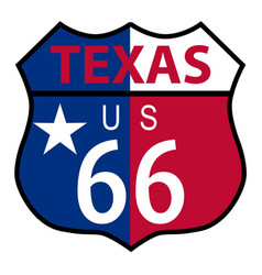 Route 66 texas sign and flag vector
