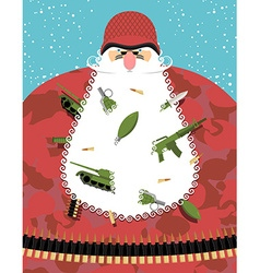Santa Claus military Santa in camouflage uniforms vector image