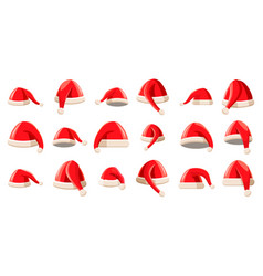 santa hat icon set cartoon style vector image