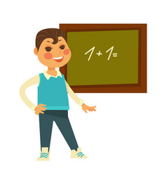 Schoolboy stands near chalboard with drawn vector