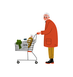 senior man with shopping cart elderly man daily vector image