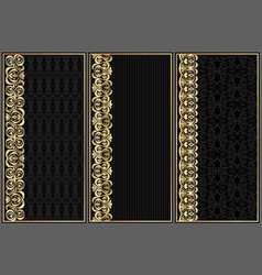 Set of black labels with gold pattern vector