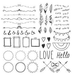 Set of romantic decor elements hand drawing style vector