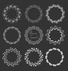 set of round floral frames vector image
