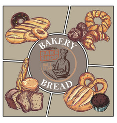 sketch bakery products concept vector image
