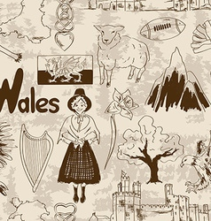 Sketch Wales seamless pattern vector image