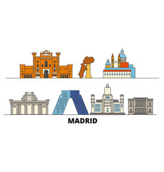 Spain madrid flat landmarks vector