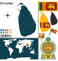 Sri Lanka map world vector
