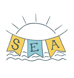summer time sun icon and sea vector image