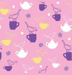 Tea party with birds teatime seamless pattern vector