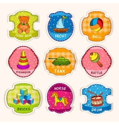 Toys labels sketch vector image