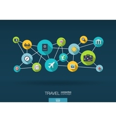 Travel network background with integrate flat vector