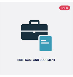 two color briefcase and document icon from tools vector image