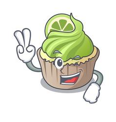 two finger lemon cupcake character cartoon vector image