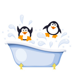 two small penguins bathe in the tub abstract vector image
