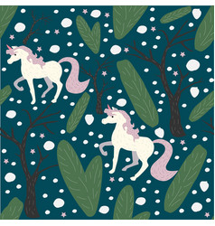 Unicorn seamless pattern green background with vector