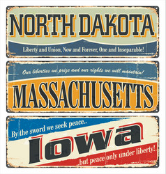 us title north dakota massachusetts iowa vector image