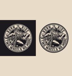 Vintage motorcycle round monochrome label vector