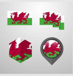 Wales flag design set vector