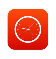 wall clock icon digital red vector image