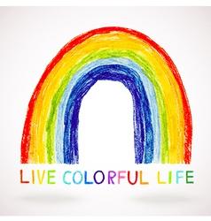 Watercolor rainbow hand drawn with color pencils vector