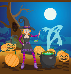 Witch in wood preparing potion vector