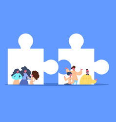 woman man parts jigsaw solve puzzle solution vector image
