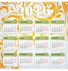 Year 2016 calendar vector image
