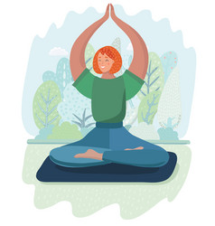 young woman in the lotus position is meditating vector image