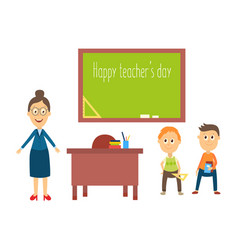 flat cartoon teacher and pupils in vector image vector image