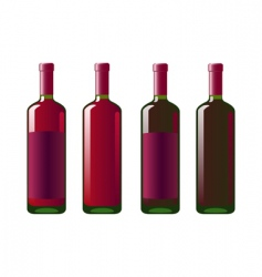 four bottles of red wine vector image vector image