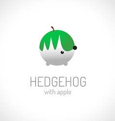 Hedgehog carriyng apple logo template vector image
