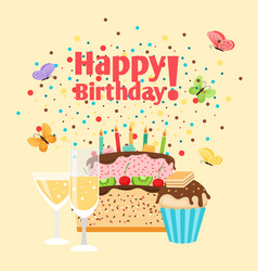 muffin cake and champagne birthday card vector image vector image