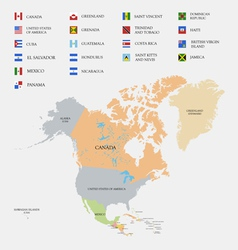 North America map and flags vector image vector image
