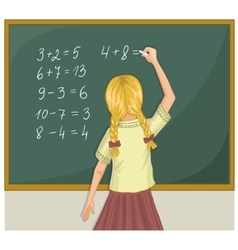 Schoolgirl resolves writes on blackboard eps10 vector image vector image