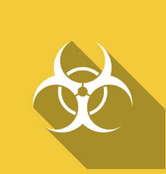 biohazard symbol flat icon with long shadow vector image