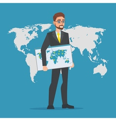 Businessman holding a map of the world business vector