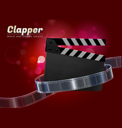 clapper movie cinema object vector image vector image