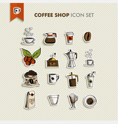 Coffee shop icons set vector image vector image