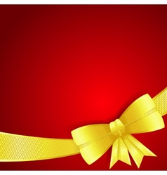 Greeting card with gold silk bow vector image vector image
