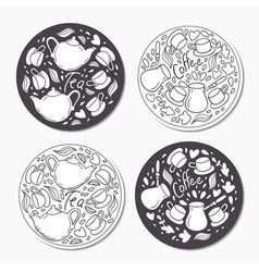 Round stickers set with doodle tea and coffee vector image