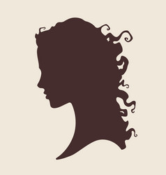 silhouette of beautiful curly woman vector image