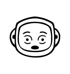 thin line shocked face icon vector image vector image