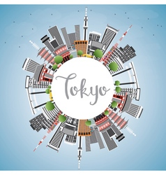 Tokyo Skyline with Gray Buildings Blue Sky vector image vector image
