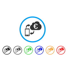 euro cloud banking rounded icon vector image vector image