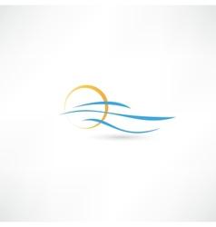 sea waves and rising sun vector image vector image