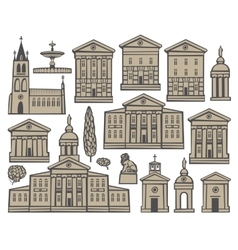 set houses and churches vector image