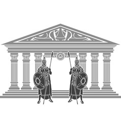 two titans and temple of atlantis vector image