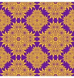 Abstract orange purple retro floral seamless vector